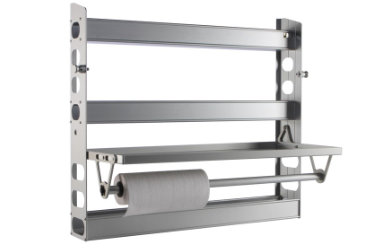 Fold up door tray for holding a variety of items for easy access.