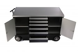 Black 6 drawer pit cart with doors and drawers open