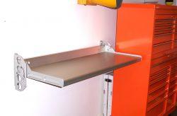 Flip bench mounted on garage wall