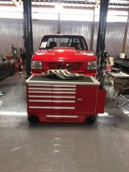12 drawer pit cart with belly drawer, red paint, and pro jack holder built for Fireball Camaro